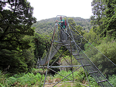 A forestry-style swing bridge.