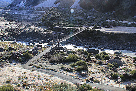 A bridge on the hooker Valley Track.